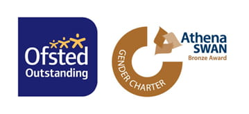 Ofsted outstanding logo and Brown Athena Swan award logo