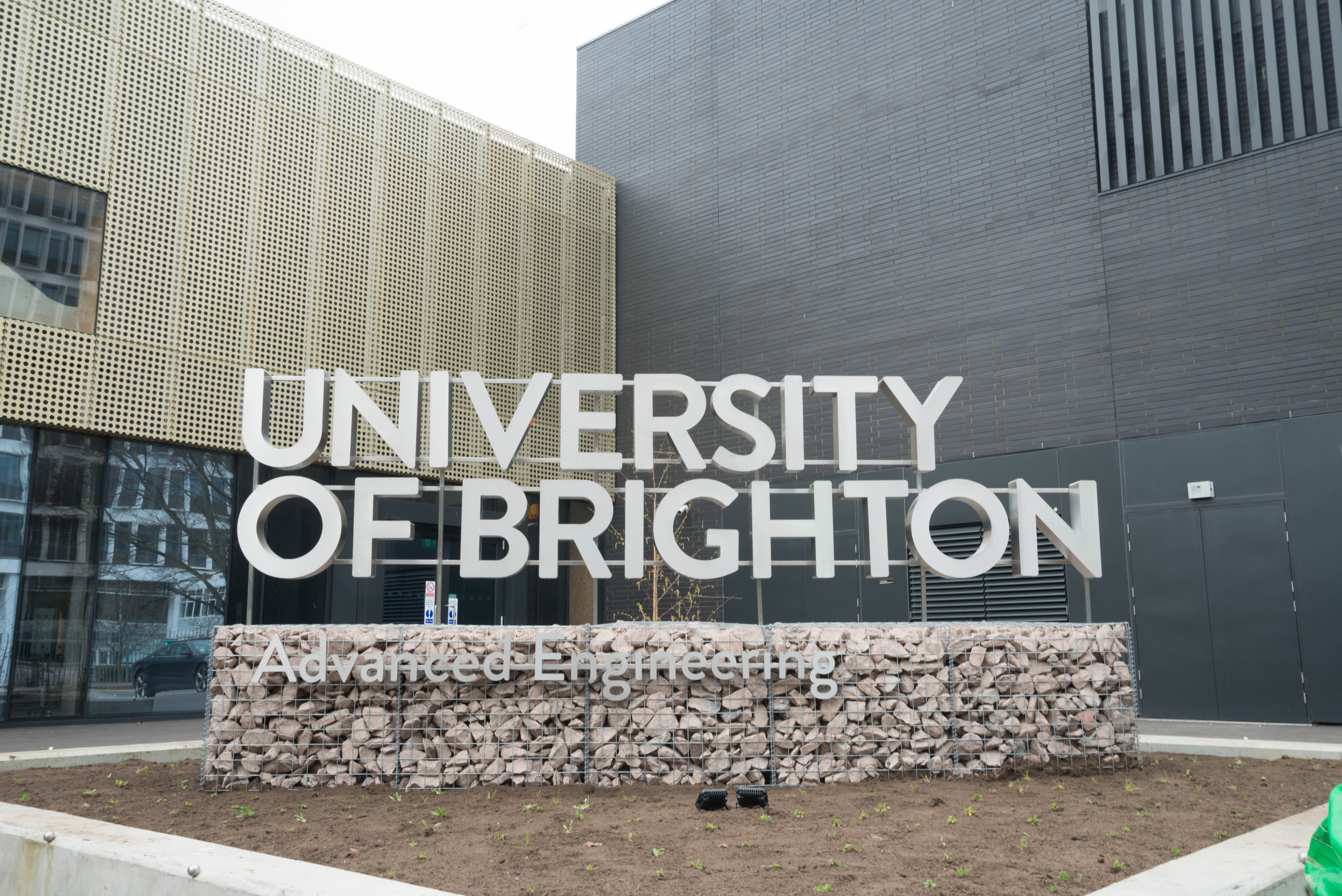 Advanced Engineering Building UoB sign