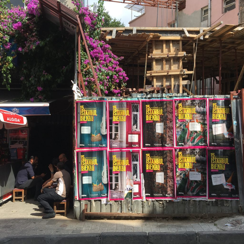 Posters for the 15th Istanbul Bienial in Kadikoy, 16 September 2017.