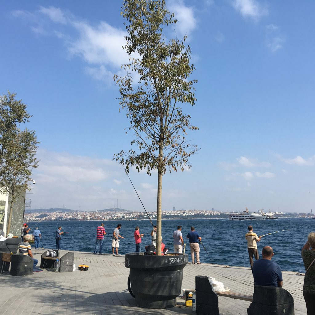 Fishing near the Karakoy ferry, 16 September 2017.