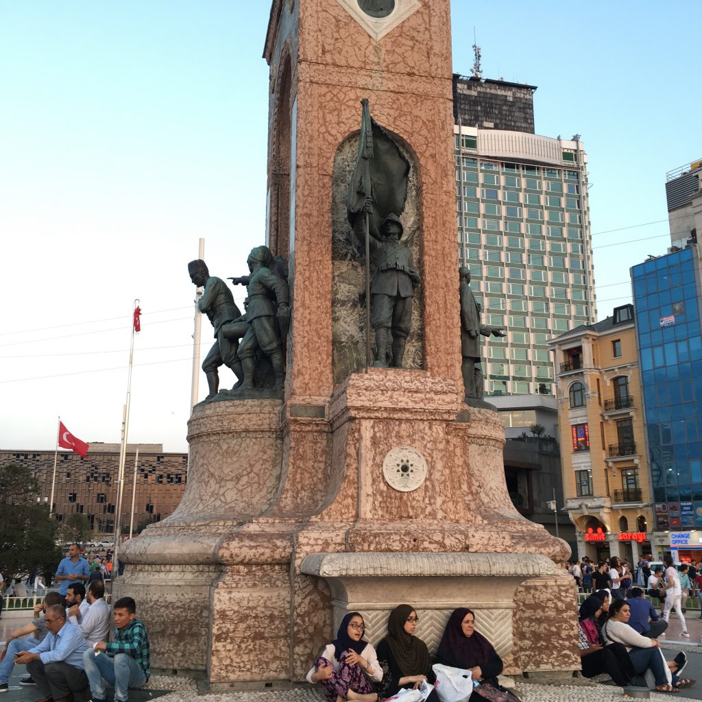 Sitting around the Monument to the Republic, Taksim Square, 16 September 2017.