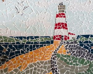 Mosaic Lighthouse on a Hill