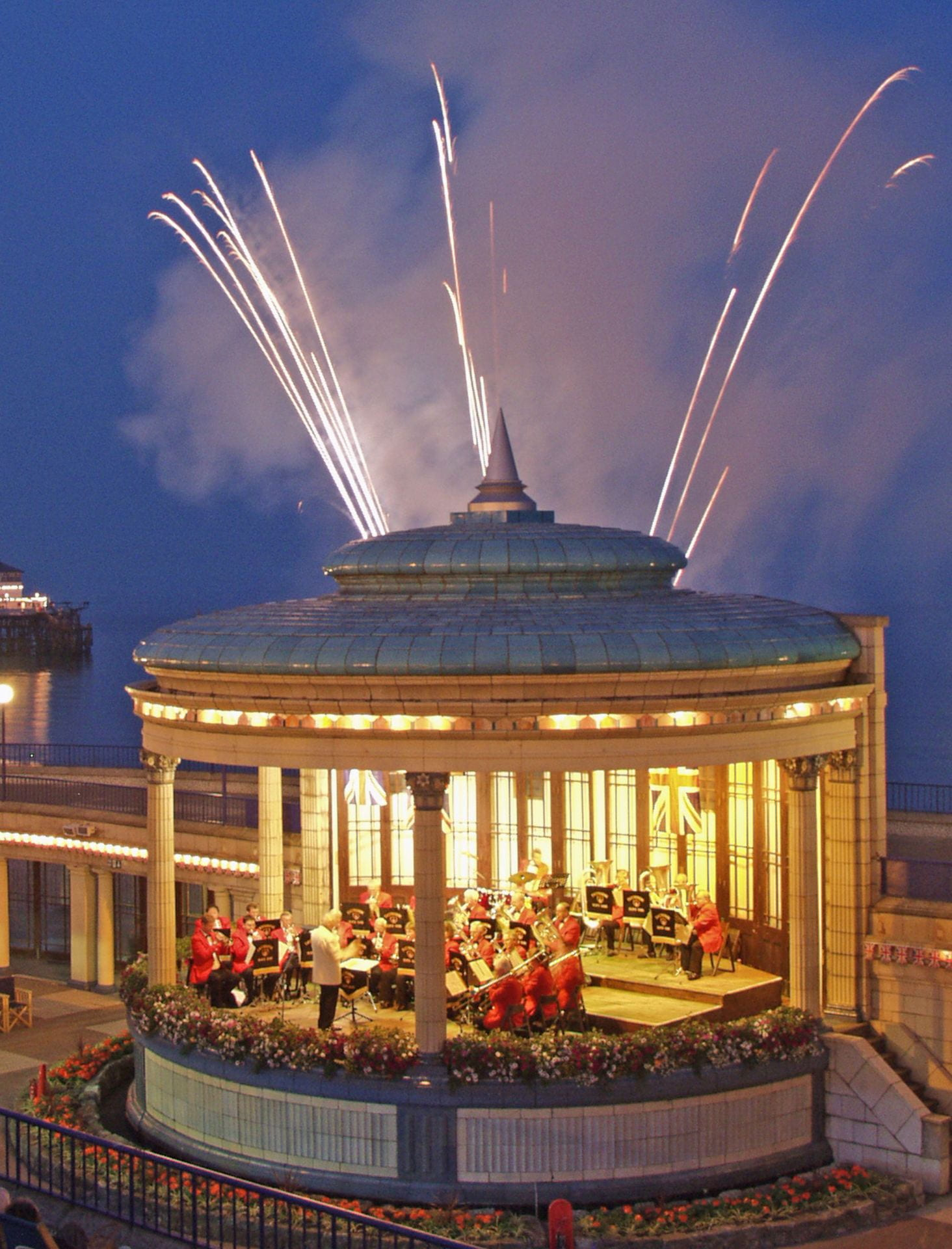 A band playing on Eastbourne bandstand