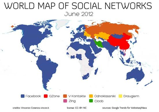world map of facebook