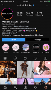 PrettyLittleThing's Instagram Landing Page