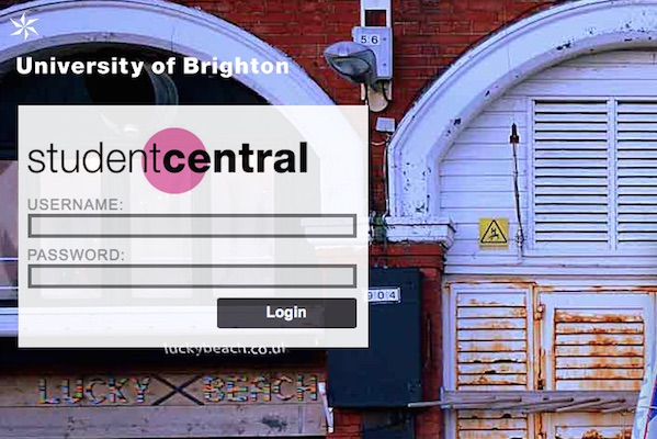 Screenshot of virtual learning environment studentcentral's login page