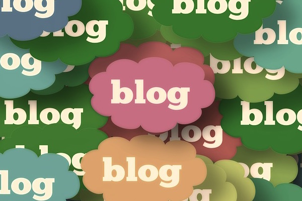 graphic of word blog in multicoloured clouds