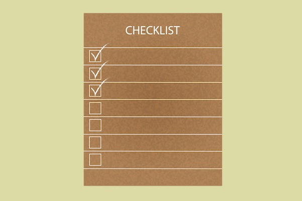 Drawn checklist with yellow background