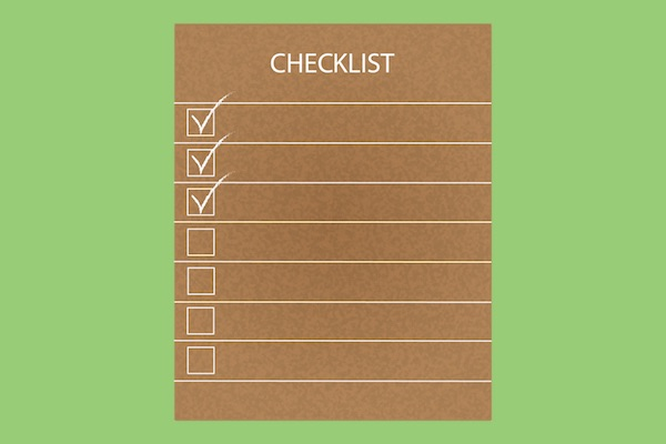 Drawn checklist with green background