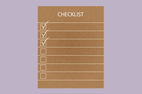 Drawn checklist with purple background
