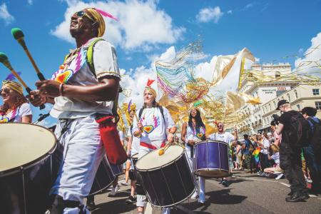 Carnival street party at Brighton Pride