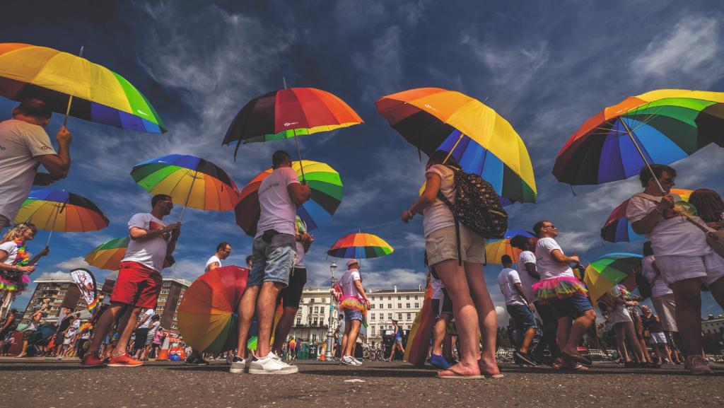 Brighton Pride street party with pride umbrellas