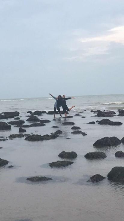 Deborah and a friend at Eastbourne beach