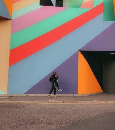 Deborah standing outside the towner gallery