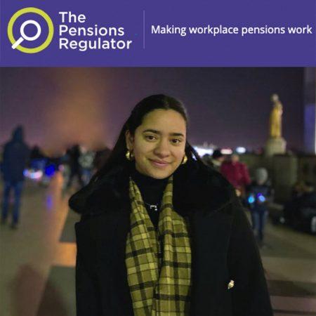 Pensions Regulator logo and image of Cristina Beskaly