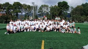 The group on the pitch in Columbia