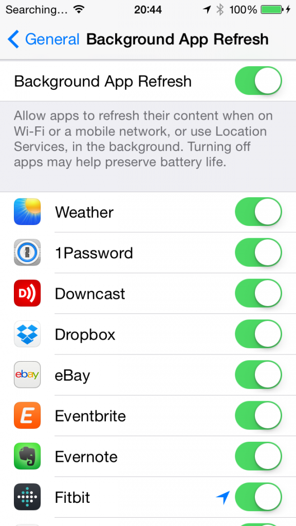 iPhone Background app settings