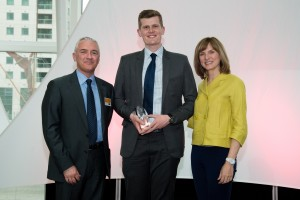 PHOTO: left to right - John O'Connor, Laing O'Rourke's Group Director for Human Capital, Scott Dalton and Fiona Bruce.