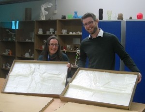 Dr Heidi Burgess and Nick Gray with the 3D printouts