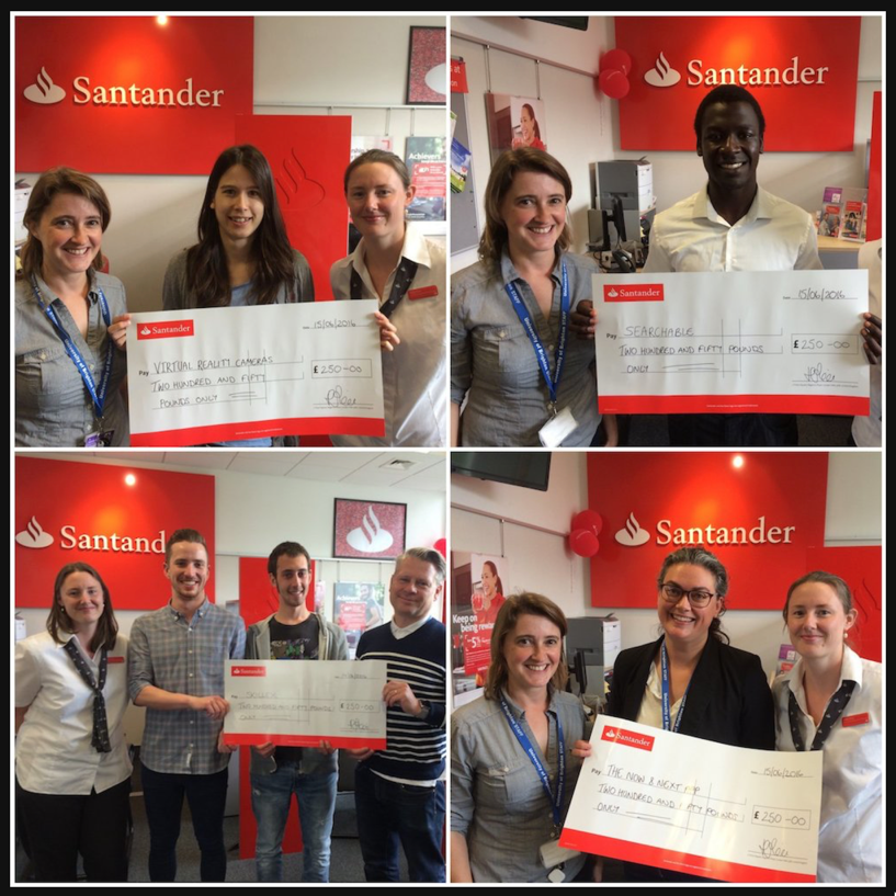 4brightideas winners get cheques from Santander