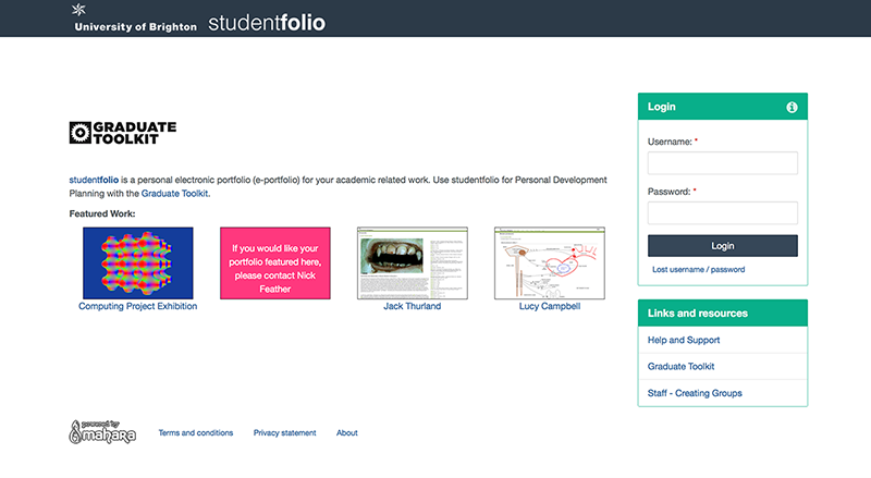 New Studentfolio Homepage