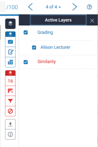 Screenshot showing layers in Turnitin