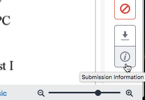 Screenshot of the submission info button