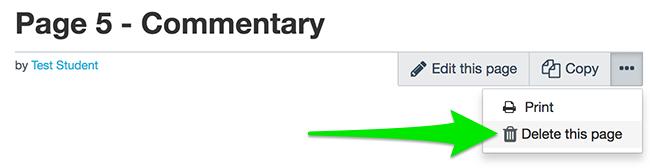 Delete page button in studentfolio