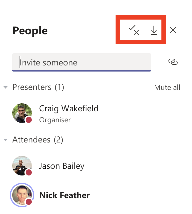 screenshot of the new organisers buttons in teams