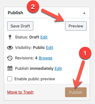 Greyed out publish button, and highlighted 'preview' button