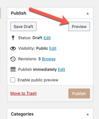 Arrow pointing at the Preview Button in the Publish-widget area
