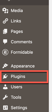 Red-box highlighting the plugin menu item in the leftside menu