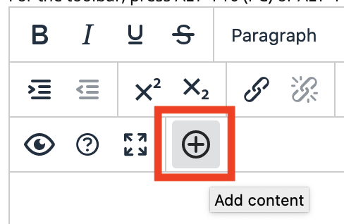 screenshot of the add content button in new content editor