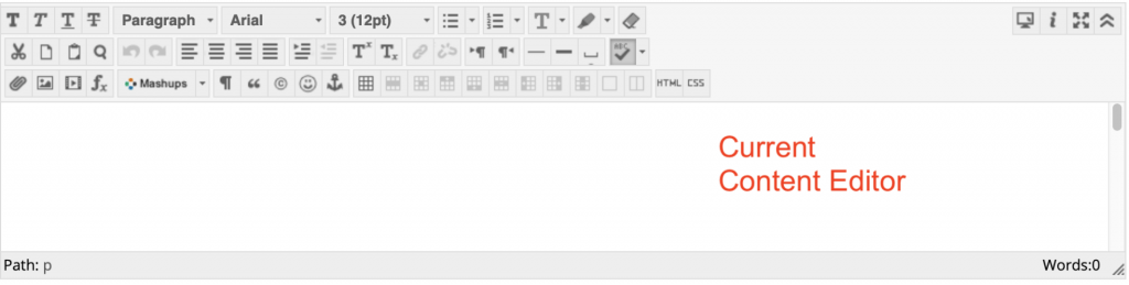 screenshot of the current content editor in My Studies