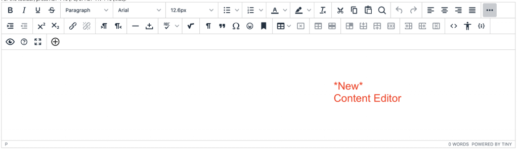 screenshot of the new content editor