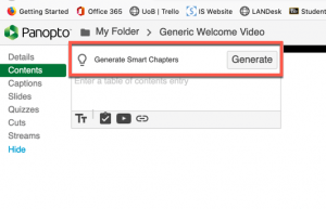 """Screencapture showing the """"Smart Chapters"""" generate button in Panopto"""