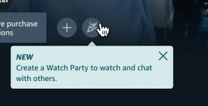 Screenshot of the Watch Party option in the Amazon Prime web interface