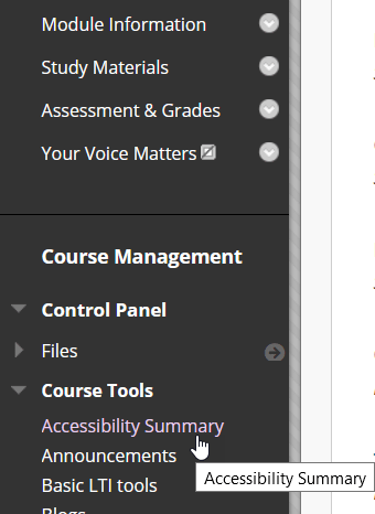 Screenshot of the Course Management menu with Course Tools opens and a mouse cursor pointing to Accessibility Summary in a My Studies module
