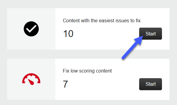 Annotated screenshot showing the 'content with the easiest issues to fix' block and the start button