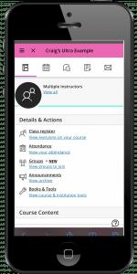 Mobile phone showing Blackboard ULTRA on screen