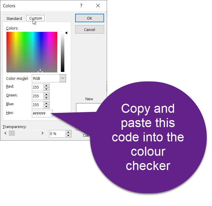 Screenshot of the Hex color code in the Custom section of the Color Fill tool in PowerPoint.