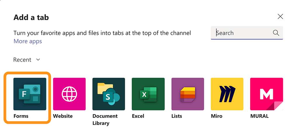 Screenshot of Microsoft Teams app selection with Forms app highlighted.