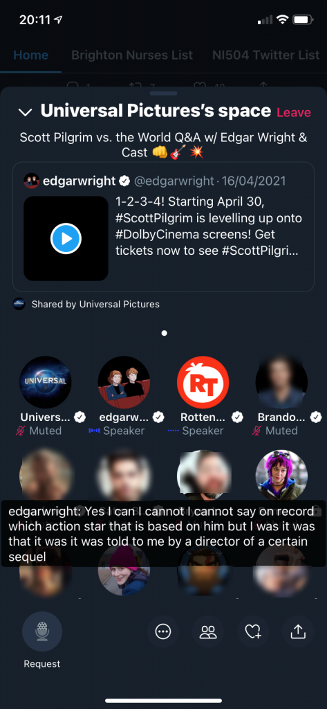Screenshot of a Twitter Rooms meeting in progress featuring Tweets and live audio discussion. Many participants are shown on-screen but are blurred out