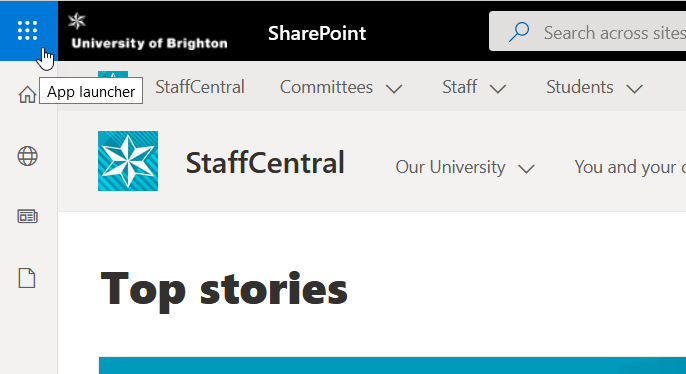 Screenshot of OneDrive access from staffcentral on the top-left of the page