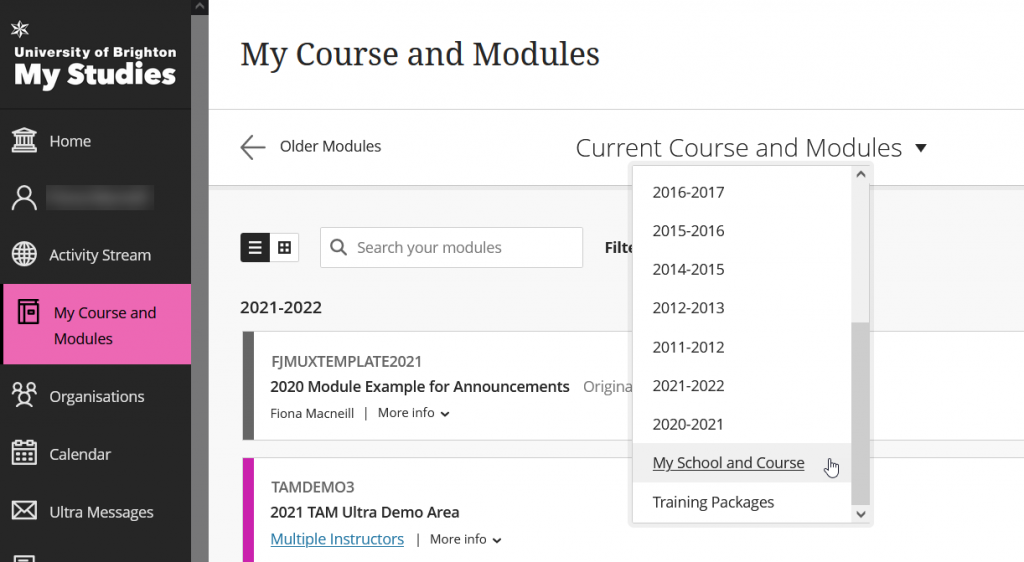 Screenshot of the drop-down menu on the My Course and Modules page to filter by course