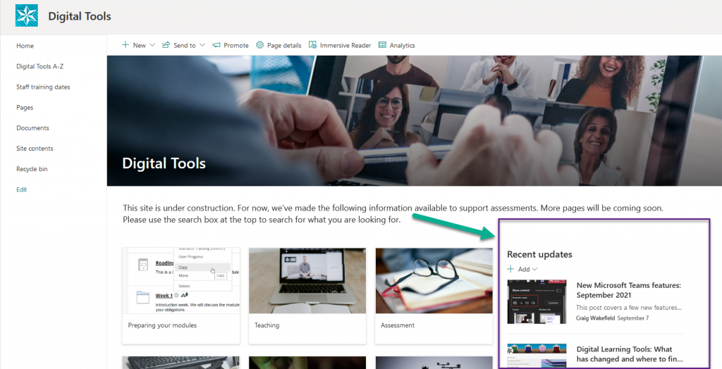 Screenshot showing the Digital Tools page on SharePoint Online - the recent news section is on the right