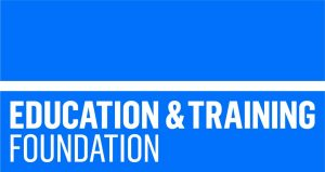 Education and training foundation logo which is the words in white on a blue background