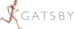 Gatsby logo which is the words in grey with an image of a running man