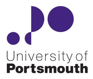 University of Portsmouth logo which has the words in black with Purple circles and semi-circles above