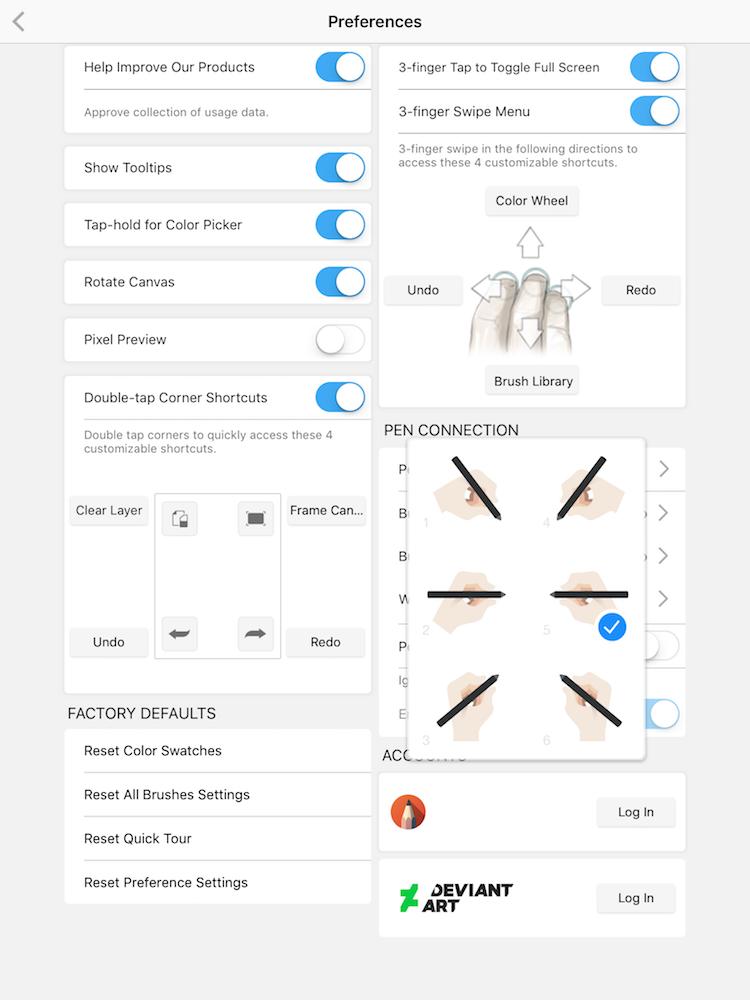 Autodesk sketchbook settings